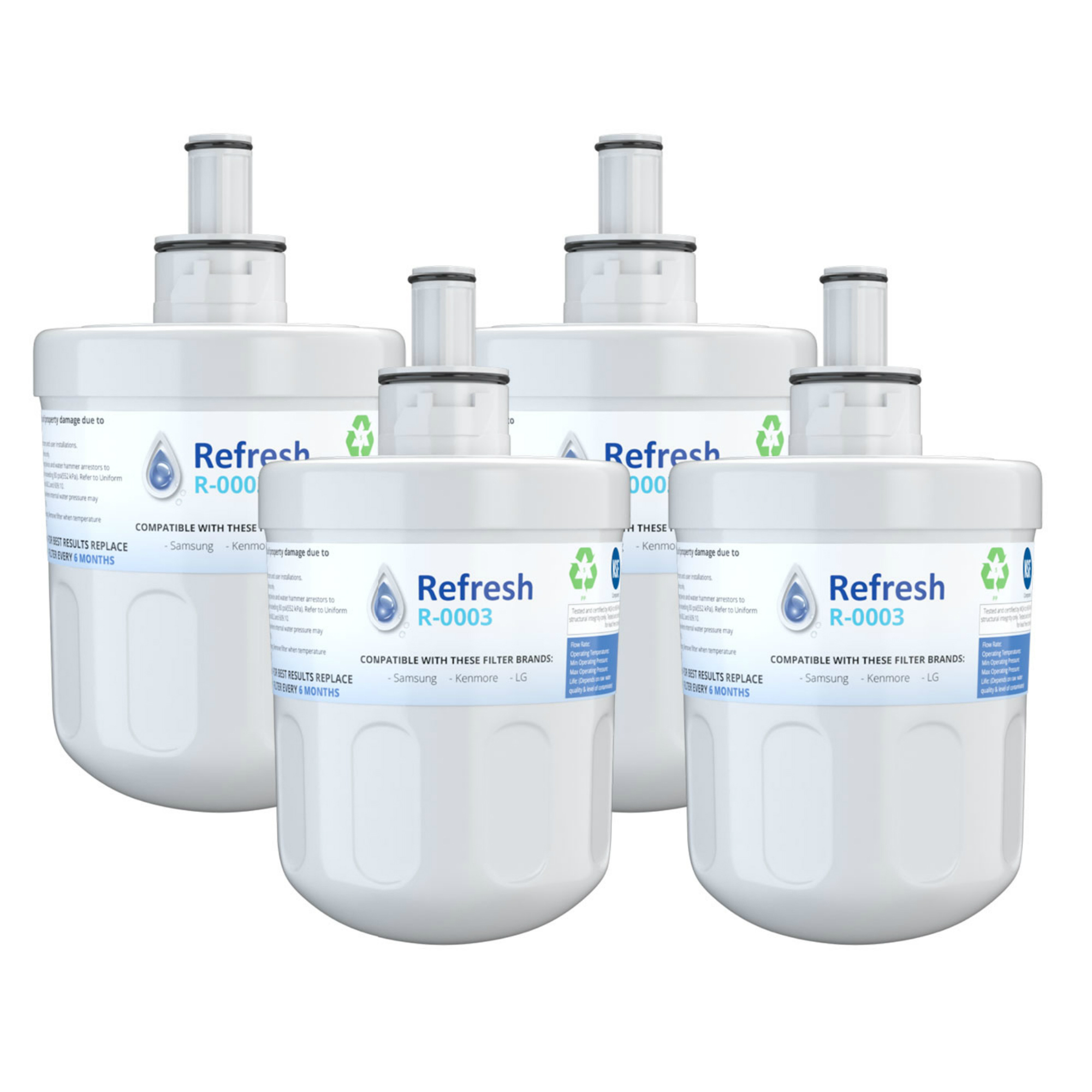 3 Pack Refresh Replacement Water Filter Fits Samsung RFG297HDWP Refrigerators