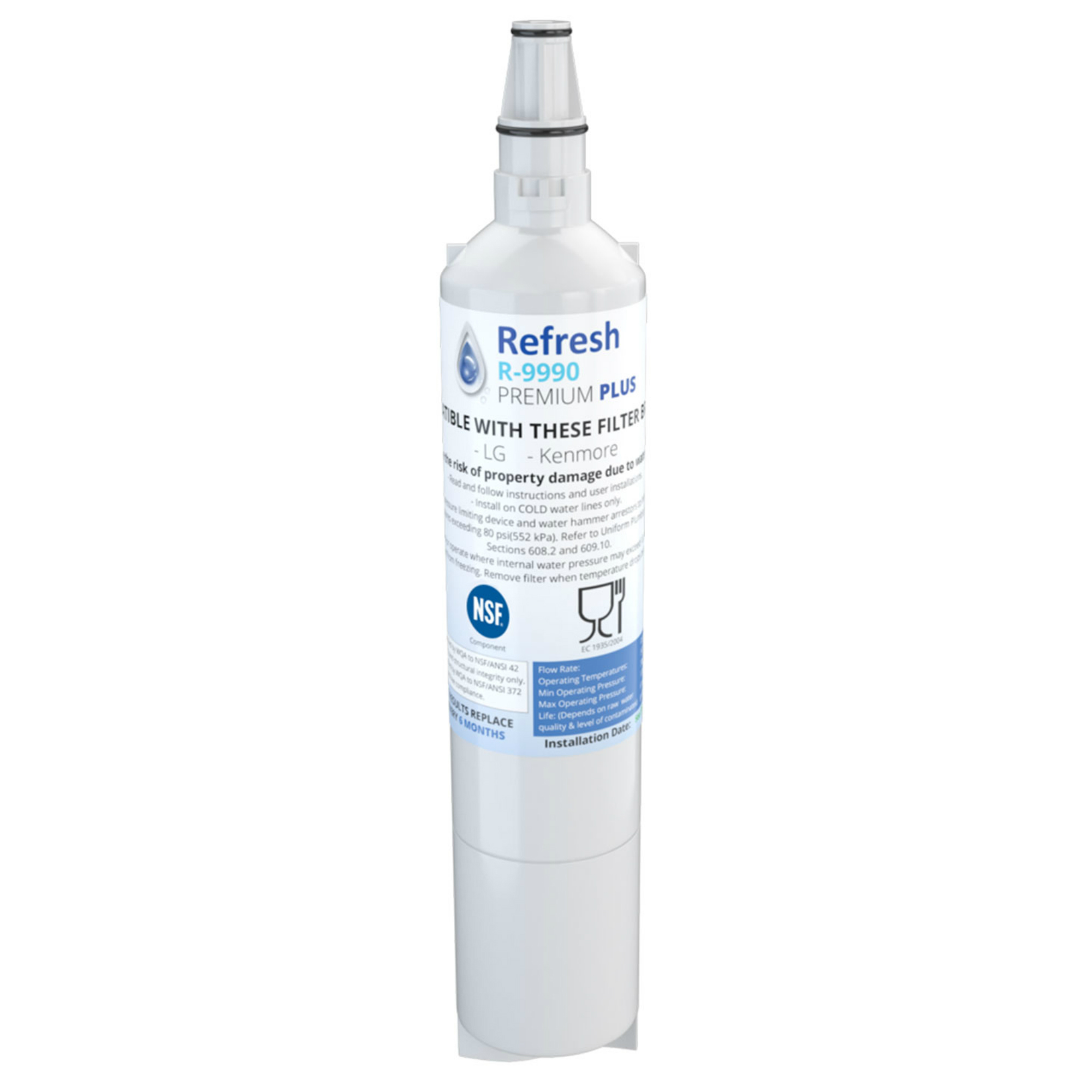 Refresh Replacement Water Filter 6 Pack Fits Samsung DWF-11 Refrigerators