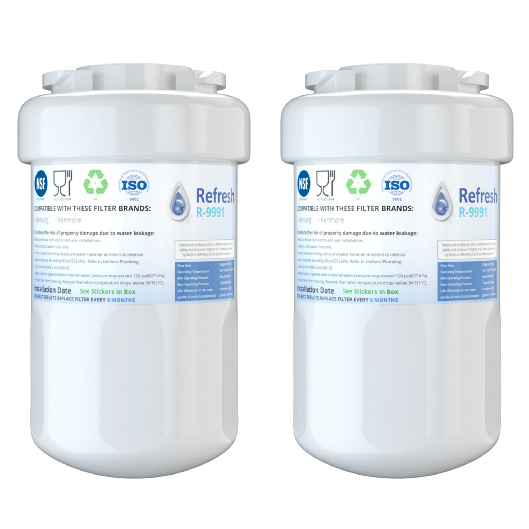 Details about Refresh Replacement Water Filter - Fits GE GSHS3KGZBCSS  Refrigerators (2 Pack)