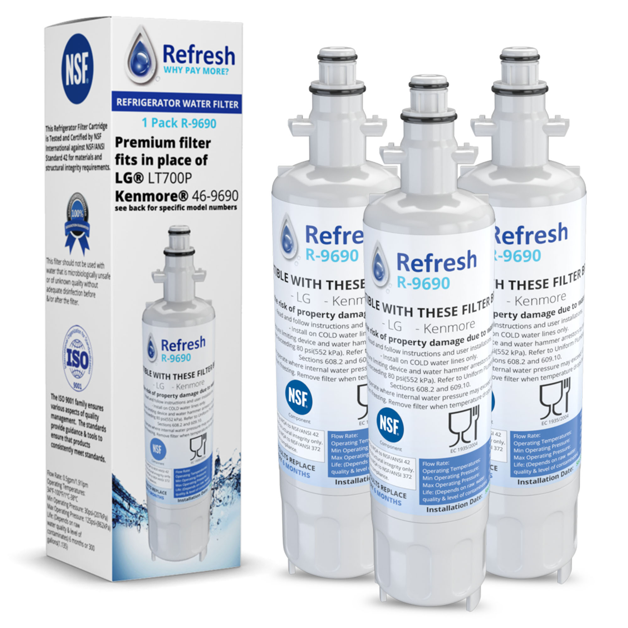 Replacement For LG LMXS27626D Refrigerator Water Filter by Refresh